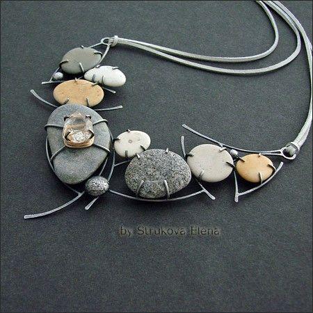 Necklace | Strukova Elena.  Silver, stone and pebble pendant on leather cord.