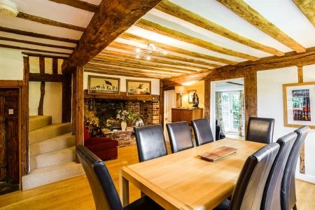 Who wouldn't want a glorious setting like this surrounding the family dining table? The 4 bedroom £725,000 detached house in West Malling, Kent, retains much of its original character including exposed beams and Inglenook fireplace. Call 01732 841164 to take a look at what else this property has to offer!