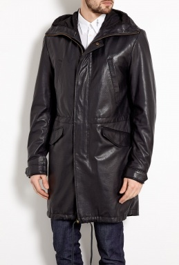 Black Perforated Leather Military Parka by McQ Alexander McQ
