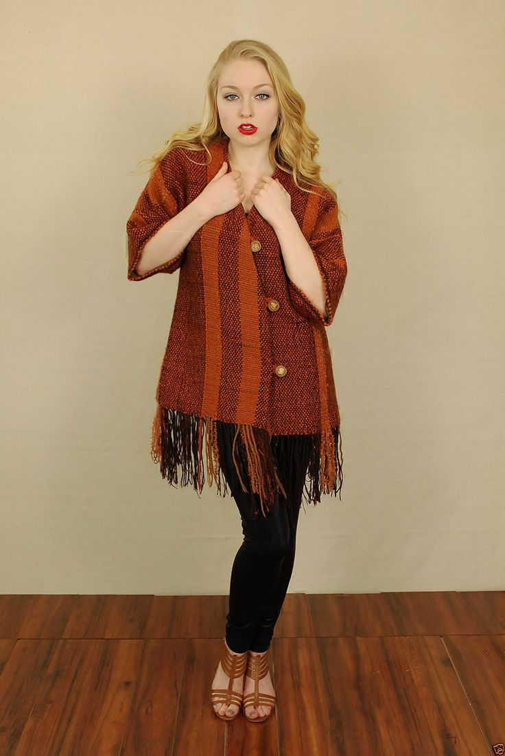 Vtg 70s 80s Rust Red Ethnic Tribal Fringe Blanket Coat Boho Hippie Poncho L | eBay
