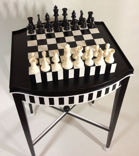 Hand Painted Vintage Chess Table Removable by Hand Painted Chess Board with Chess Pieces. One-of-a-Kind uniquejewelrybynan, $395.00