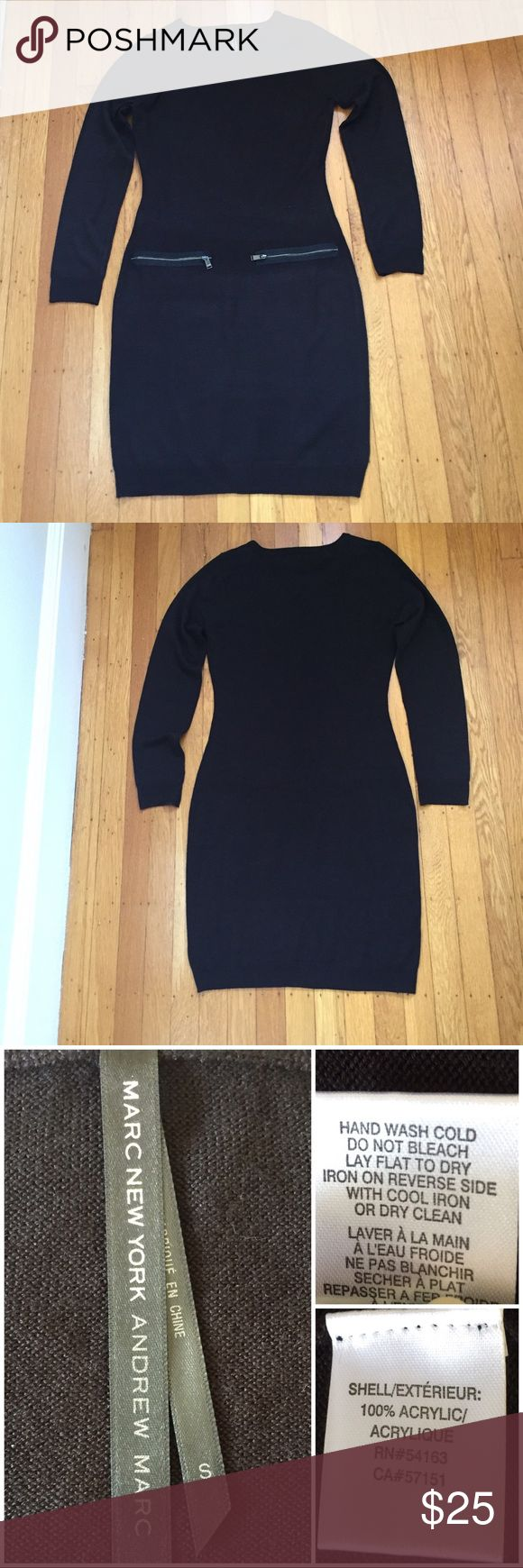 """Marc New York Andrew Marc Black Knit Dress. Marc New York Andrew Marc Black Knit Figure Fitting   Dress.  Size S.  Flat lay measurements. Between underarms 19"""". Waist 15 1/2"""". Hips 17"""". Timeless chic. •••••FIRM PRICE••••• Andrew Marc Dresses Midi"""