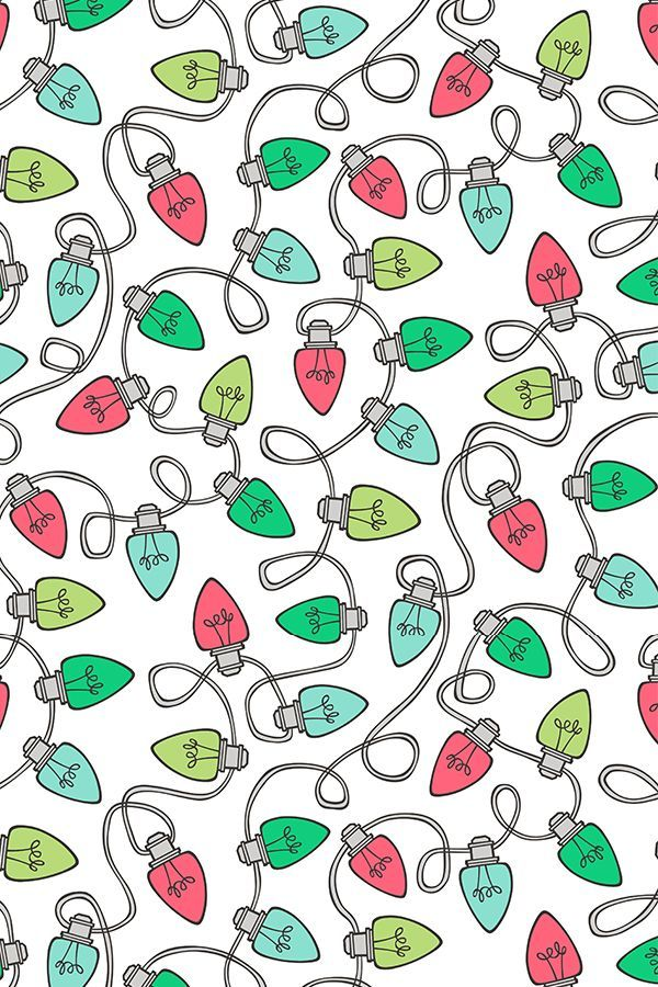 Colorful Fabrics Digitally Printed By Spoonflower Christmas Xmas Holiday Lights Bulbs Red Green On White Wallpaper Iphone Christmas Christmas Phone Wallpaper Christmas Wallpaper