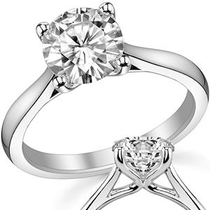 Round Moissanite Cathedral Solitaire Ring (cushion 6mm or 6.5mm) white gold or maybe palladium