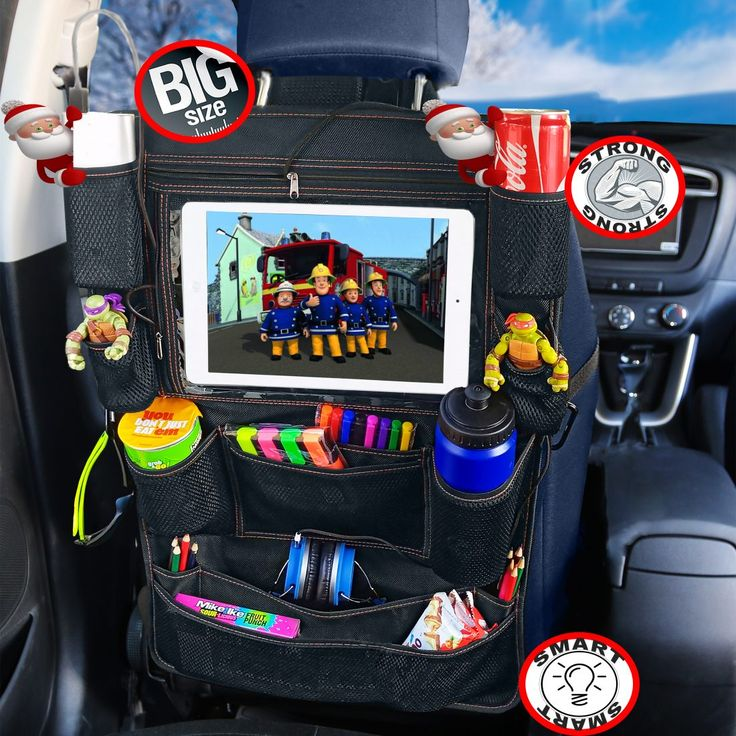 Must have when travelling with kids Car back seat organizer.Use code BcomPint to get 5% off all our products. http://amzn.to/2Ftzd9c