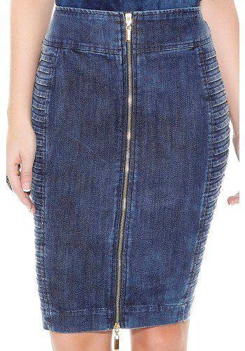 saia lapis jeans escuro nervuras laterais ziper frontal titanium frente  detalhe 9bb92b75309