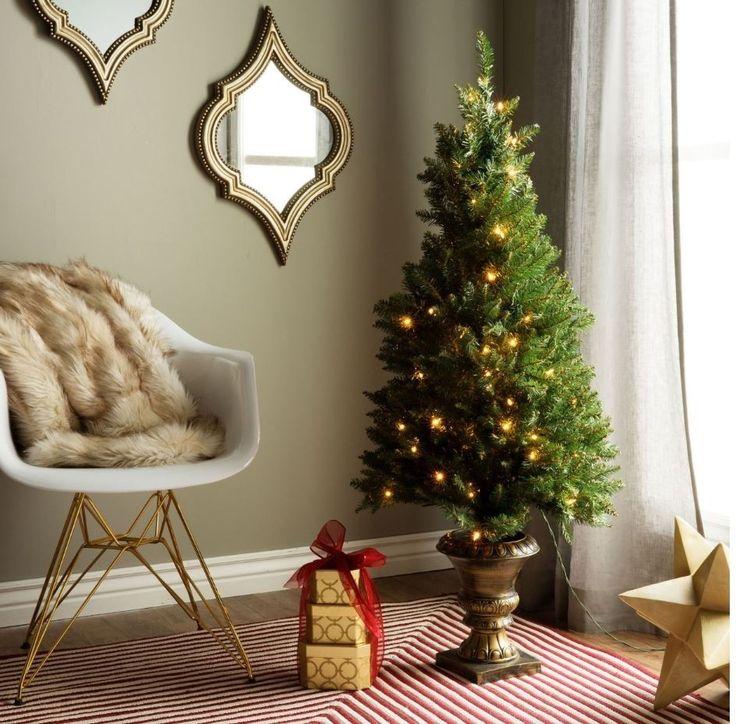 4Ft Christmas Tree Pre-Lit Artificial Porch Entryway Indoor ...