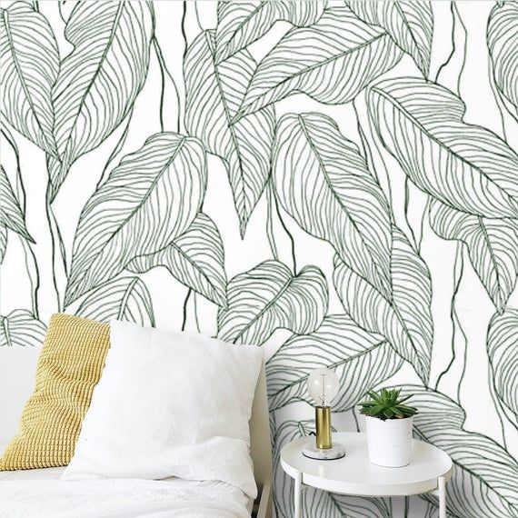 Peel And Stick Wallpaper Minimalist Large Leaves Self Adhesive Etsy Peel And Stick Wallpaper Tree Removable Wallpaper Temporary Wallpaper