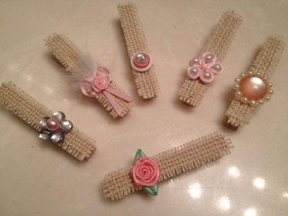 Shabby Chic, Clothespins, White Burlap, Rustic Chic, Wood Pins, Decoration, Package Topper, Gift Wrap, Tag Card Holder, Christmas Ornament