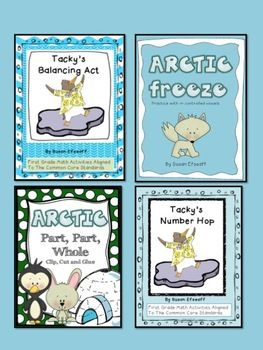 Tacky's Arctic Bundle - language arts and math bundle- Part, Part, Whole; Sight word practice; Writing numbers to 100; balancing equations  $