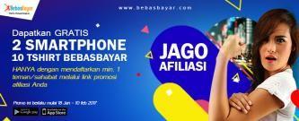 PROMO AFILIASI BEBASBAYAR BERHADIAH 2 SMARTPHONE & 10 TSHIRT
