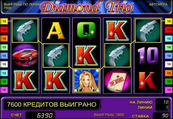Description of the slot machine Diamond Trio. Characters of online the slot Diamond Trio, created by Novomatic, are three women. Here players are waiting for just three wild symbols, free spins and doubling game. Thanks to these features and the ability to play free online automatic Diamond Trio popular among beginners. And because of the