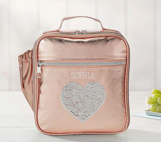 Monique Lhuillier Rose Gold Sequin Heart Lunch Box