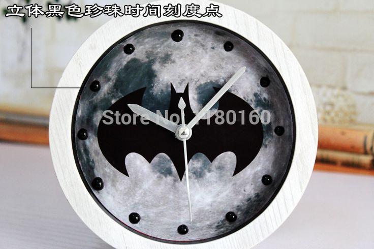 2014 новый! Бэтмен будильник, Творческий классический фильм деревянный стол часы, Немой часы современный дизайн, Качество мода украшения дома