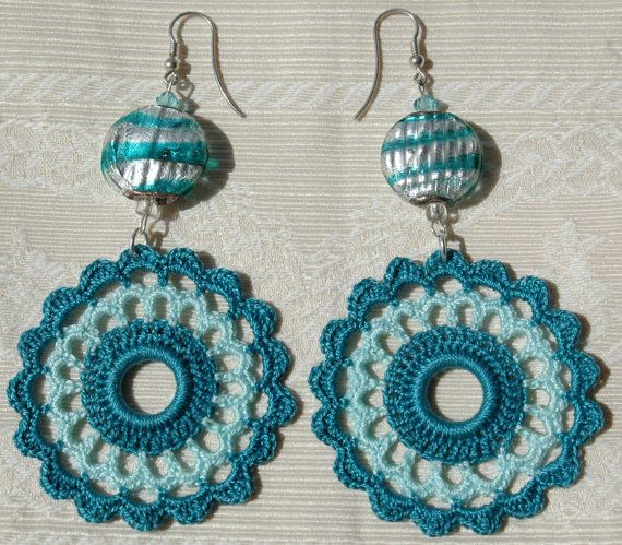 Crochet earring - crochet earring jewelry - large crochet earring - Blue green