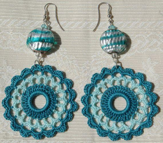 Crochet earring  crochet earring jewelry  large by lindapaula, €10.00