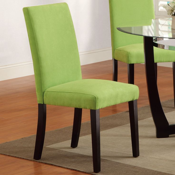 Set Of 2 Bobkona Dining Chair In Apple Green Microfiber
