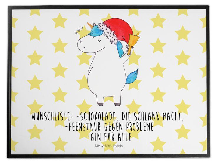 Schreibtischunterlage Einhorn Weihnachtsmann aus Kunststoff  Schwarz - Das Original von Mr. & Mrs. Panda.  Die Schreibtischunterlage wird in Deutschland exklusiv für Mr. & Mrs. Panda gefertigt und ist aus hochwertigem Kunststoff hergestellt. Eine ganz tolle Besonderheit ist die einzigartige Einlegelasche an der Seite, mit der man das Motiv kinderleicht gegen andere Motive von Mr. & Mrs. Panda tauschen kann.    Über unser Motiv Einhorn Weihnachtsmann  Das Weihnachtsmann-Einhorn ist viel…