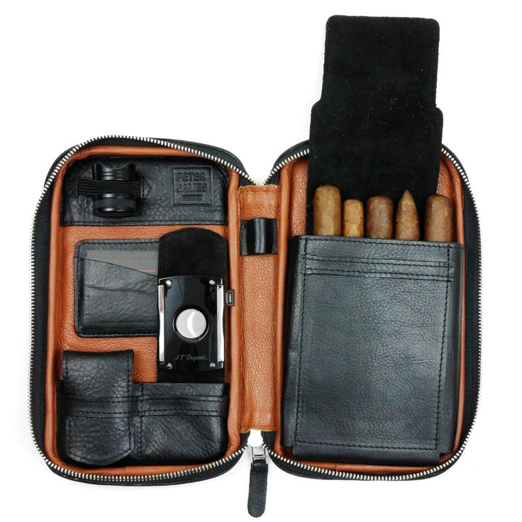 Black & Brown Leather Cigar Case