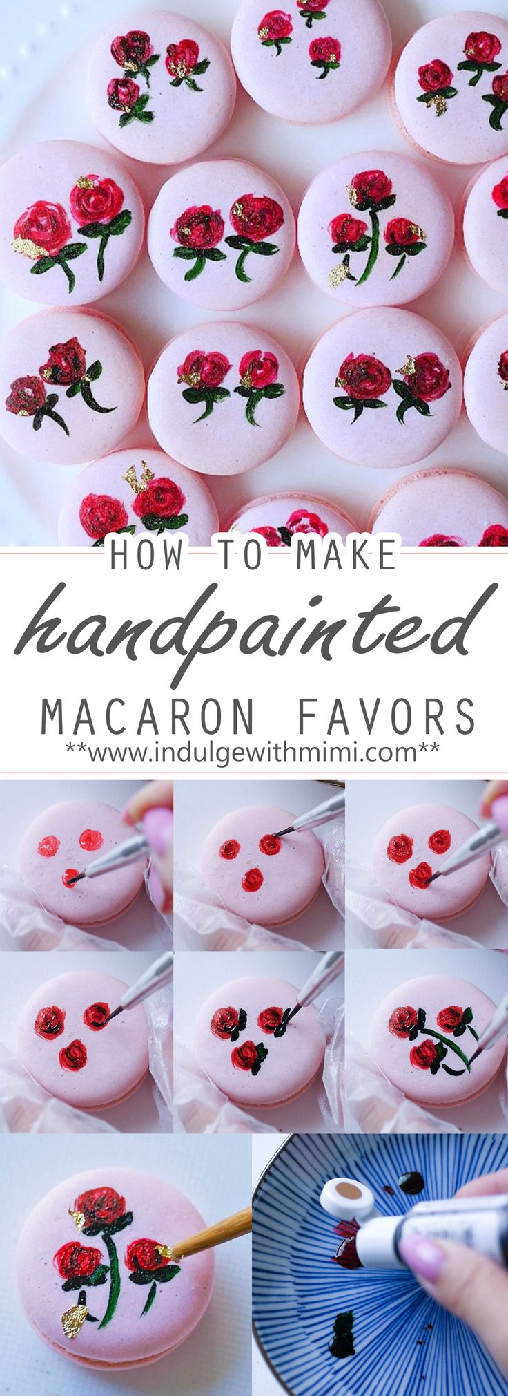 Tutorial on How to Make Hand Painted Floral Macaron Favors for your wedding or party. Impress your guests with these fancy treats that will look stunning on any table setting.