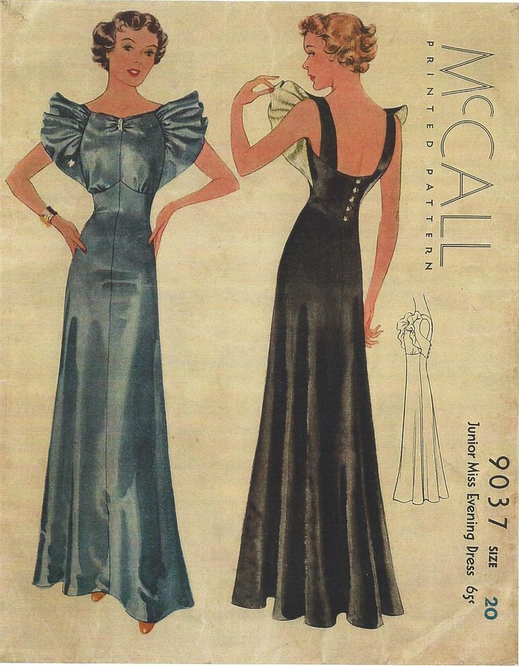 1930s Evening Dress Sewing Pattern - McCall #9037