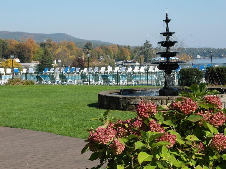 Photo from the back lawn of Fort William Henry Hotel in Lake George NY #lakegeorge #adirondacks #fallcolors #upsateNY #lakegeorgefall #autumn