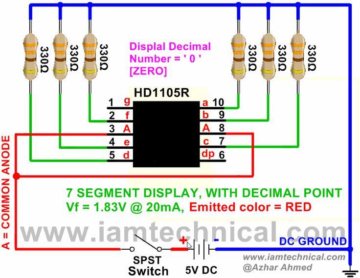 7 Segment Red Color LED Display Emitting Decimal Digit ' 0 ' | IamTechnical.com