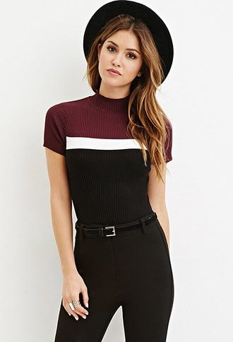 Colorblock Mock Neck Sweater | Forever 21 - 2000163966