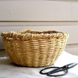 Use jute twine to make your own woven bowl basket.