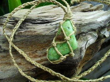 A beautiful hemp wrapped piece of natural green chrysoprase with a long non adjustable hemp cord.