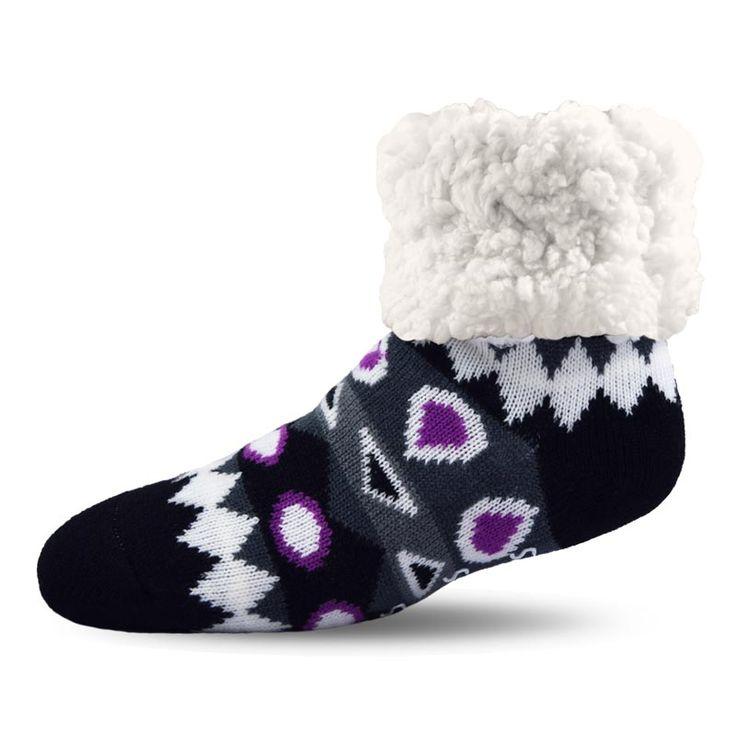 Pudus Southwest Purple Socks with PUDUS Grippers on the Sole  #geometricdesign #socks #warmsocks #wooly
