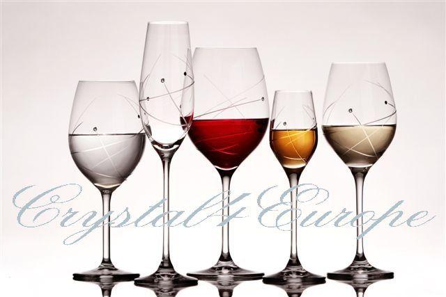 """Poháre na víno, šampanské, likér, whisky a vodu """"RM7"""" www.crystal4europe.eu"""