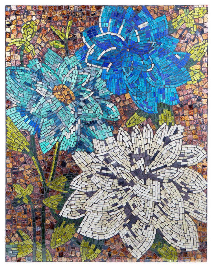 Blue Dahlias Mosaic Glass Tile Wall Art   22x28 inches