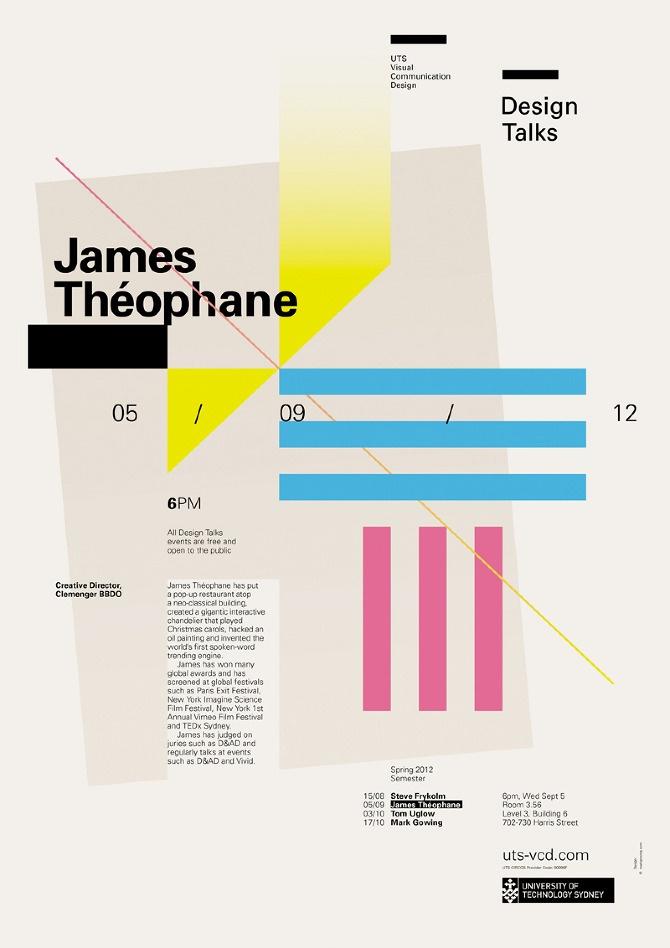 Design Talks #2: James Théophane - UTS Visual Communication Design (poster by Mark Gowing Design)