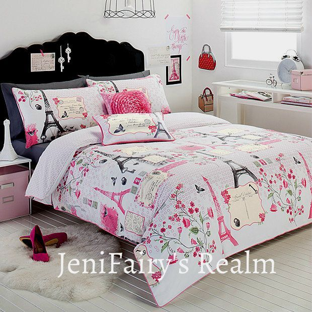 paris bed room for teenagers | Paris Stylish Eiffel Tower White Pink Gray Single Quilt D.... >> Figure out even more by going to the image link