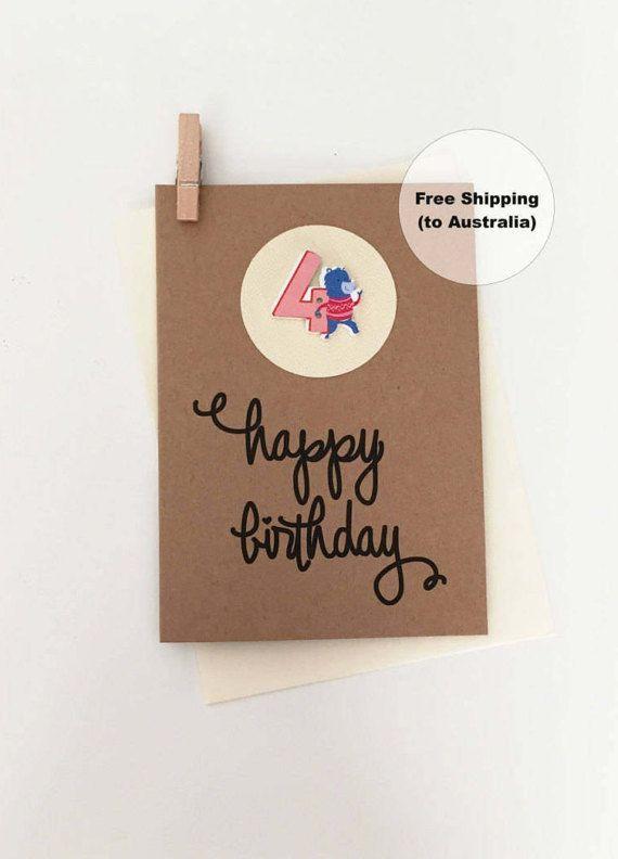 4th Birthday Card – 4th Happy Birthday Card – Age 4 Happy Birthday Card – Fourth Happy Birthday Card – Happy 4th Birthday Card