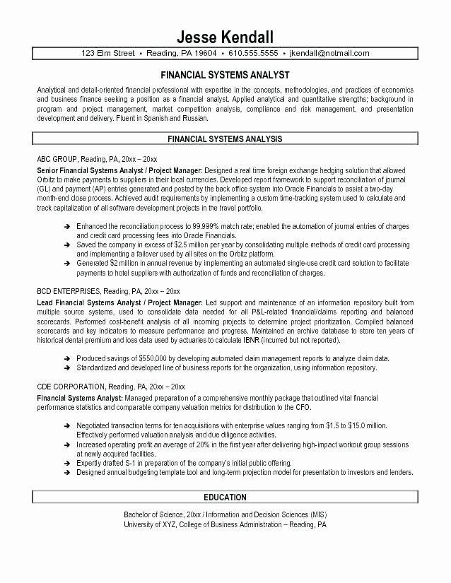 Entry Level Data Scientist Resume Elegant Entry Level Financial Analyst Resume In 2021 Business Analyst Resume Business Analyst Financial Analyst