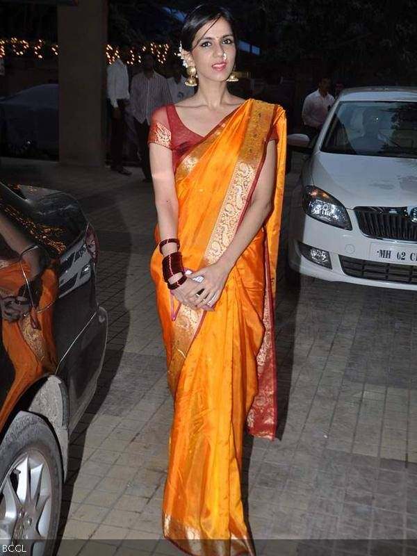 Nishka Lulla in completes in Saree with nose Nath at Actor Sameera Reddy's wedding with Akshai Varde Jan, 14