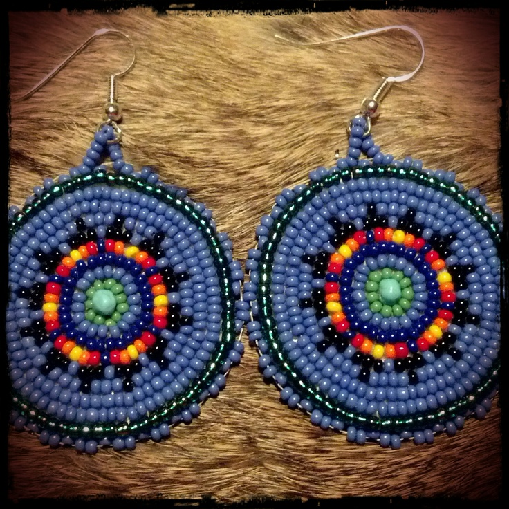 Size 11 cut beads, the earrings are 2 1/2  inches round with turquoise in the center. ~ Native Creation Beadwork