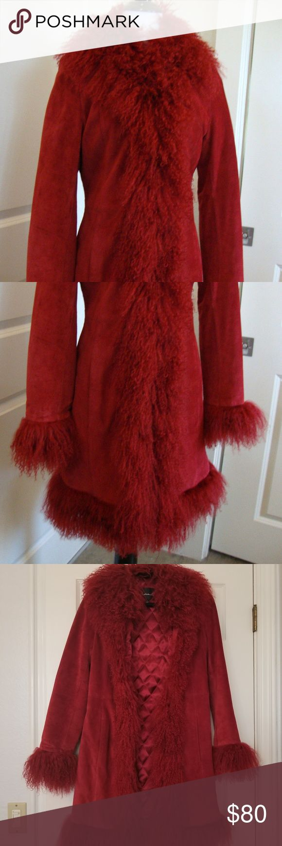 (SOLD) ARDEN B RED SUEDE MONGOLIAN FUR COAT- S Gorgeous red suede coat trimmed wit Mongolian lamb fur in very good condition for a size S (sz 4-6). Color betw true cherry red & burgundy, like ripe raspberry. Lined in silky vibrant red w/ light quilted padding for warmth.   3 hooks & eyes to fasten.  2 small patches of spots, one on each of bottom corners of inside lining.  Lightest stray marks on the suede at the back.  See photos.  Fur in excellent condition, fluffy & w/o tangles. Armpit to…