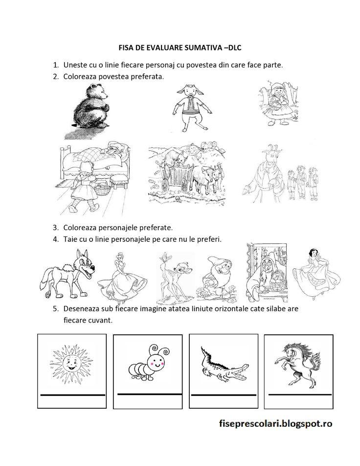 Evaluare sumativa 1 DLC, DS, DOS, DEC Nivel I si II | Fise de lucru - gradinita
