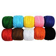 KurtzyTM 10 Bobines de Fil de Coton Coloré pour Crochet-20g par bobine- Tricot Dentelle- 1700 Mètres