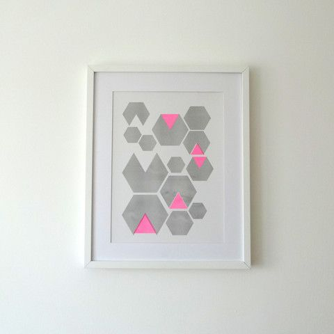Hexagon Pink Print by Andy Murray Design