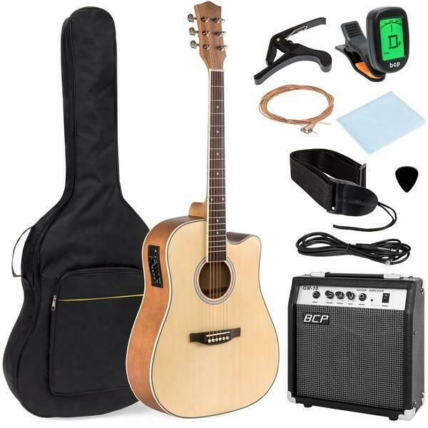 Musician Guitarist Gift Acoustic Electric Cutaway Guitar W 10 Watt Amp 41 Case Unbranded Acoustic Electric Guitar Guitarist Gifts