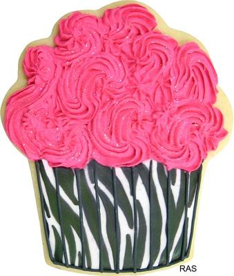 pink & zebra cupcake cookies :)