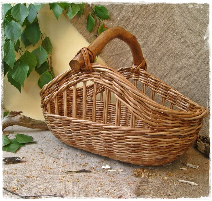 Basket Weaving Handles : Basket with the wooden handle baskets