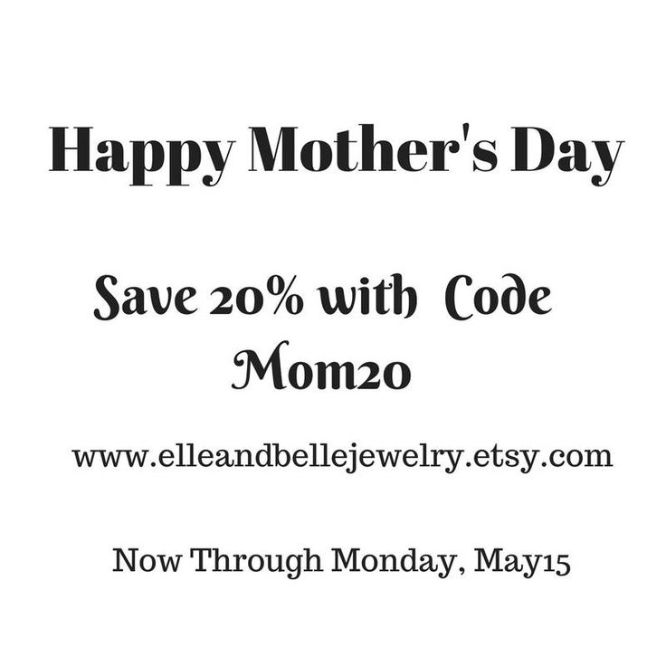Jewelry Discount Coupon Code / Mothers Day  Sale / 20% Off  / Fashion Jewelry / Necklaces / Bracelets / Gift For Mom by elleandbellejewelry on Etsy