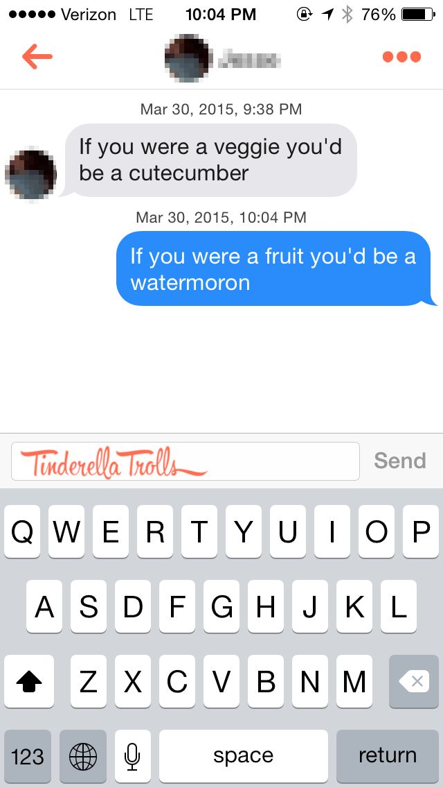 Dirty chat up lines tinderella