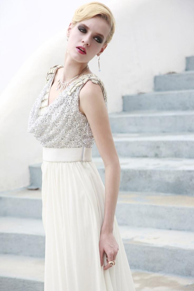 White Sexy Low V-Neck Prom Dress