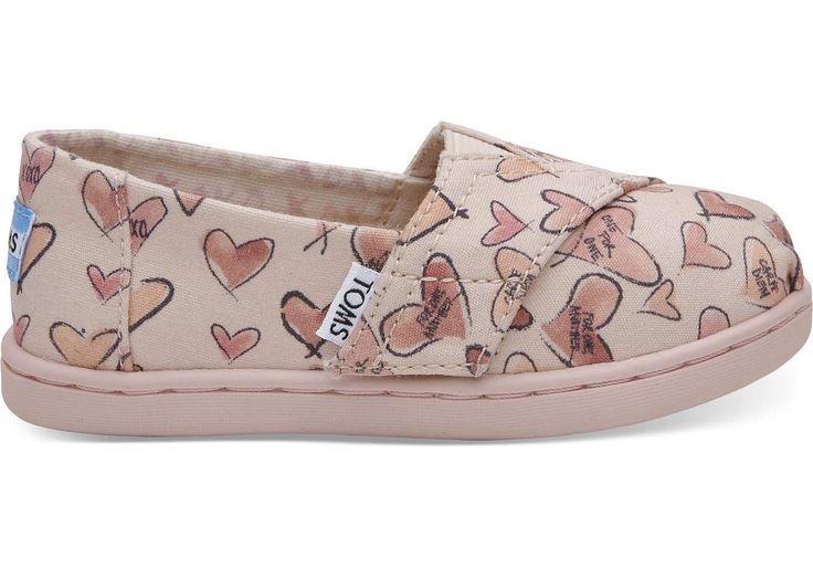 Watercolor Hearts Tiny TOMS Classics #tinytomsheartsshoes